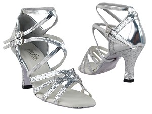 "5008Mirage Silver Sparkle & Silver Leather with 3"" Heel in the photo"