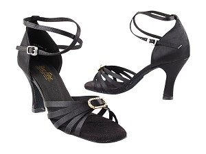 "6005 Black Satin & Stone with 3"" Heel in the photo"