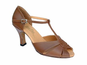 "6006 Coffee Brown Leather with 3"" Heel in the photo"