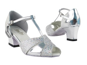 "6006 Silver Leather & Silver Sparklenet with 2"" Thick Cuban Heel in the photo"