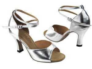 "6012 Silver Leather with 3"" Heel in the photo"