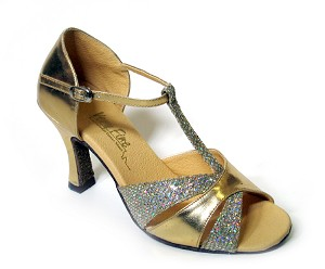 "6016 Gold Leather & Gold Sparklenet with 3"" Heel in the photo"
