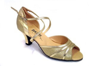 "6023 #21 Gold & Gold Trim with 3"" Heel in the photo"