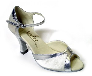 "6024 White Satin & Silver Trim with 3"" Heel in the photo"