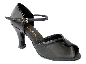 "6028 Black Leather & Black Trim with 3"" Heel in the photo"