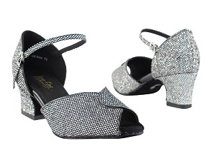 "6028 Black Sparklenet & Black Trim with 2"" Thick Cuban Heel in the photo"