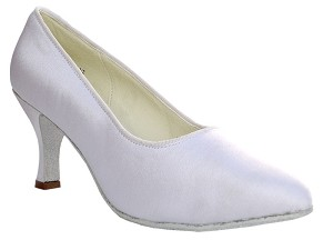 "6901 White Satin with 2.75"" heel in the photo"