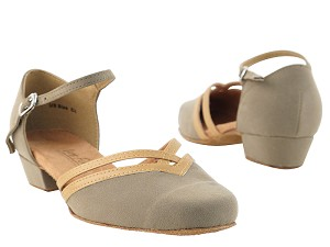 "8881 Brown Nubuck & Beige Brown Trim with 1"" women heel in the photo"