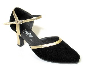 "9621 Black Velvet & Gold Trim with 2.5"" low heel in the photo"