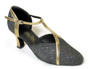 "9625 Black Sparklenet & Gold Trim with 2.5"" low heel in the photo"