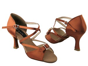 "CD2013 Dark Tan Satin with 3"" Flare heel in the photo"