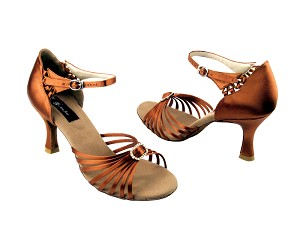 "CD2043 Dark Tan Satin with 3"" Flare heel in the photo"