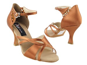 "CD2056 Dark Tan Satin with 3"" Flare heel in the photo"