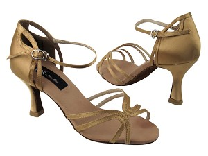 "CD2177 Tan Satin with 3"" Flare heel in the photo"