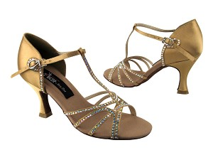 "CD2802 Tan Satin with 3"" Flare heel in the photo"