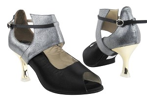 "CD3001 Black Satin & Silver with 3"" Gold Plated Flare Heel in the photo"
