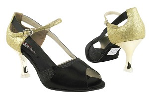"CD3006 Black Satin & Gold with 3"" Gold Plated Flare Heel in the photo"