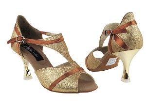 "CD3007 Gold & Dark Tan Satin Trim with 3"" Gold Plated Flare Heel in the photo"