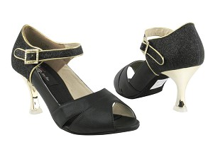 "CD3010 Black & Black Stardust with 3"" Gold Plated Flare Heel in the photo"