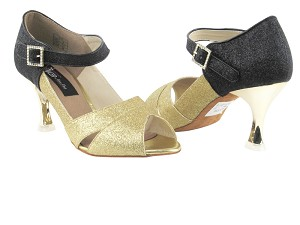 "CD3010 Gold Stardust & Black Stardust with 3"" Gold Plated Flare Heel in the photo"