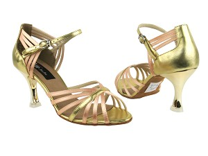 "CD3012 Beige Satin & Gold with 3"" Gold Plated Flare Heel in the photo"