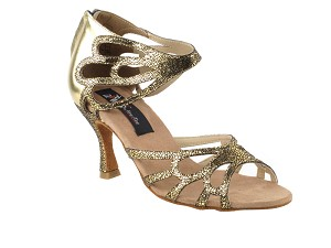 "CD3027 Gold with 3"" Flare heel in the photo"