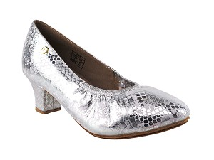 "CD5013DB Silver Leather with 2"" Medium Heel in the photo"