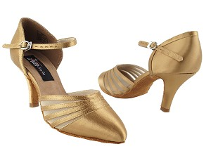 "CD6033 Tan Satin with 2.75"" Slim heel in the photo"