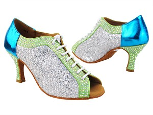 "C1643CC 137 Light Green Satin_H_RS_131 Metallic Blue_B_129 Silver Sparklenet_M with 2.75"" Heel (11006) in the photo"