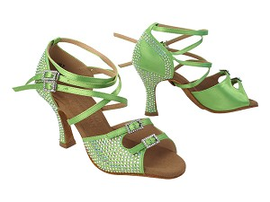 "S1004CC 137 Green Satin with 3"" Heel (YQG) in the photo"