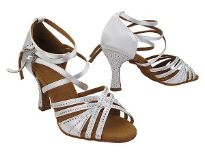 "S1006 85 White Satin with 3"" Heel (YQG) in the photo"