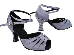 "S1007CC 180 Grey Satin_X-Strap Ankle with Loop_Rhinestone on Heel Only with 2.5"" Heel (PG) in the photo"