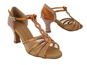 S1009CC Copper Tan Satin with (PG) 2.5 inch Heel in the photo
