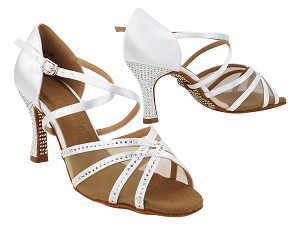 SERA1605CC 85 White Satin_Flesh Mesh_No Stone on Back with 3 inch Heel (5059) in the photo
