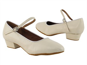 "1682FT Light Beige Leather  with 1"" Flat Heel in the photo"