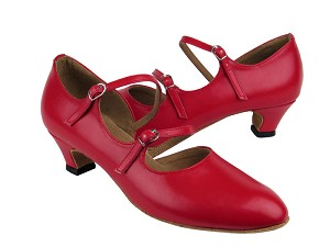 "PP201 Red Leather with 1.2"" cuban heel in the photo"
