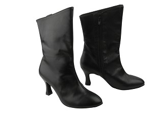 "VFBoot PP205A Ankle Bootie Black Leather with 2.75"" heel in the photo"