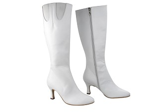 "VFBoot PP205 White Leather with Elastic with 2.75"" heel in the photo"