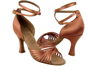 "S1001 Tan Satin with 3"" Flare heel in the photo"
