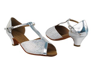 "S2804 Silver Scale_Silver Leather with 1.2"" Cuban Heel in the photo"