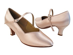 "S9138 Flesh Satin with 2"" Slim Heel in the photo"