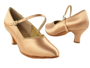 "S9138 Tan Satin with 2"" Slim Cuban Heel in the photo"