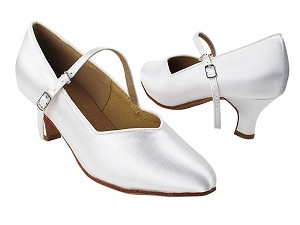 "S9138 White Satin with 2"" Slim Heel in the photo"