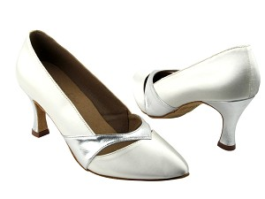 "S9171 White Satin & Silver Trim with 2.75"" heel in the photo"