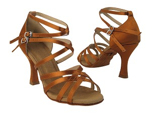 "S9206 Copper Tan Satin with 3"" Flare Heel in the photo"