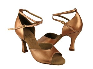 "S9220 Copper Nude Leather with 3"" Flare heel in the photo"