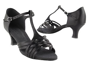 "S92304 Black Satin 2_inch  with 2"" Cuban Heel in the photo"