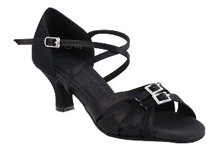 "S92307 Black Satin with 2"" Cuban Heel in the photo"