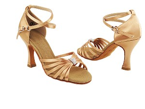 "S92311 Tan Satin with 3"" Heel in the photo"