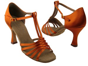 "S92319 Orange Tan Satin with 3"" Flare heel in the photo"